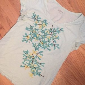 Ann Taylor loft graphic tee top shirt s small teal